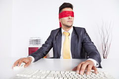 Blind computer user Stock Photo