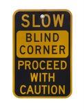 Blind corner warning sign Royalty Free Stock Photos