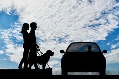 Blind couple with cane and dog guide on crosswalk day Royalty Free Stock Image