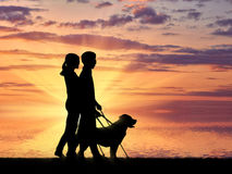 Blind couple with cane and dog guide near sea sunset Stock Images