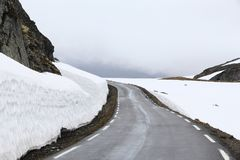 Norway snow road stock photography
