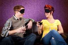 Blind Date. Couple out on a Blind Date royalty free stock image