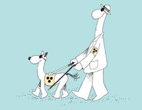 Blind Dog Leading a Blind Man. This is a hand drawn illustration depicting a blind dog leading a blind man. This illustration is a humorous take on superior Royalty Free Stock Photo