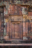 A blind door at Banteay Srei. Is flanked by colonettes, the jewel in the crown of Angkorian art Stock Image
