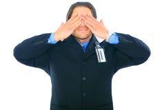 Blind gemachter Geschäftsmann Stockfoto