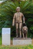 Blind girl and dog statue at Nagasaki Station. NAGASAKI, JAPAN - NOVEMBER 14: Blind girl and dog statue in Nagasaki, Japan on November 14, 2013. Situated at royalty free stock photos