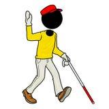 Blind handicap man walking. Silhouette-man healthcare icon - blind handicap man walking Royalty Free Stock Image