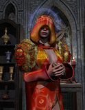 Blind holy priestess. 3D rendering of a blind holy priestess at the altar Stock Photography