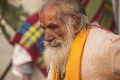 Blind Indian sadhu stock image