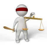 Blind justice. A man with a blindfold holding balance on white background Royalty Free Stock Photos
