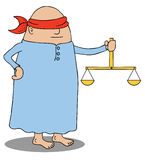 Blind Justice. Represent a blind man with a scales of justice on his hand Royalty Free Stock Photo