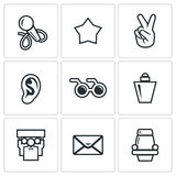 Blind listening songs artist icons set. Vector Illustration. Royalty Free Stock Photo