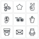 Blind listening songs artist icons set. Vector Illustration. Royalty Free Stock Photo