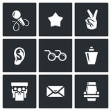 Blind listening songs artist icons set. Vector Illustration. Royalty Free Stock Images