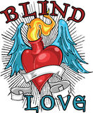 Blind love t-shirt design. A t-shirt illustration featuring a heart with wings, and the words blind love. Can also be a tattoo design Stock Images