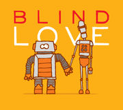 Blind love between two different robots Stock Image