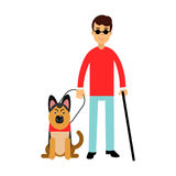 Blind man in dark glasses with walking stick and his dog colorful Illustration royalty free illustration