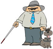 Blind Man With A Dog stock illustration