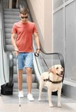 Blind man with guide dog. Near escalator royalty free stock photography