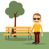 Blind man in the park Stock Image