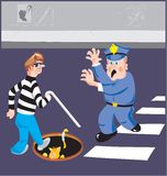 Blind man and policeman Royalty Free Stock Photo