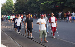 Blind man. Some blind man walking in the city of Solo, Central Java, Indonesia Royalty Free Stock Photo