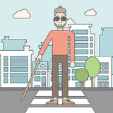 Blind man with stick Royalty Free Stock Images