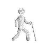 Blind man stick figure. Blind man person stick figure walking with white cane, vector silhouette. Illustration dot point gradient Royalty Free Stock Image