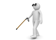 Blind man with walking stick. 3d characters isolated on white background, medicine series Stock Image