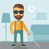 Blind man with walking stick Royalty Free Stock Photography