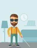 Blind man with walking stick Royalty Free Stock Image