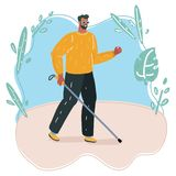 Blind man walking with stick vector illustration