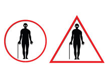 Blind man warning sign Royalty Free Stock Image