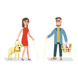 Blind man and woman royalty free illustration