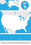 Blind map of the USA. With navigational bubble icon set Royalty Free Stock Images