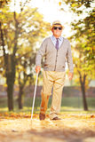 Blind mature person holding a stick and walking in a park Stock Photo