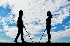 Blind men and women disabilities with cane day Royalty Free Stock Photos