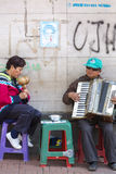 Blind musicians playing music in the street of Quito, Colombia. Stock Photography