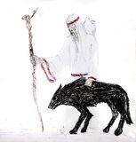 A blind old man with a white crow on his shoulders and a staff goes with a black wolf. Wolf guide.  royalty free stock image