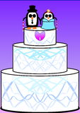 Blind penguin wedding cake Stock Image