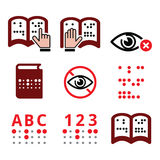Blind people, Braille writing system icon set Stock Photography