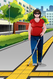 Blind People Walking on Sidewalk Stock Photography