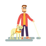 Blind person with guide dog. And walking stick . Isolated on white background. Vector illustration of Disabled man Stock Photo