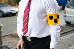 Blind person wearing armband Stock Photography