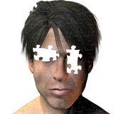 Blind. Puzzle of man missing eyes Stock Photos