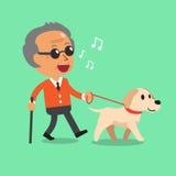 Blind senior man walking with his dog stock illustration