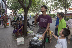 Blind singer in Ho Chi Minh Royalty Free Stock Photo