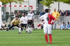 Blind soccer match. International blind soccer match between Germany and Turkey on 26th of May 2010 in front of the Reichstag in Berlin. German team wins 3:2 Royalty Free Stock Photo