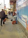 Blind street musician in Prague Stock Photo
