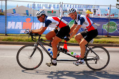Blind triathlete on tandem bike Royalty Free Stock Images